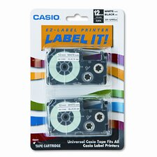 12WE2S Tape Cassettes For Kl Label Makers, 12Mm X 26Ft, 2/Pack