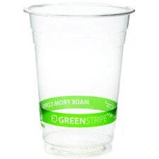 GreenStripe Renewable Resource Compostable 16 oz Cold Drink Cup in Clear