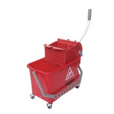 4 Gallon Side-Press Restroom Mop Bucket Combo in Red