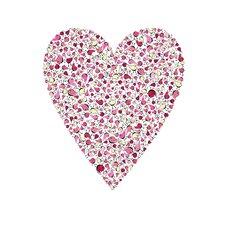 Lotsa Alphabet Art Heart Birdies Paper Print