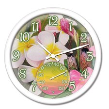"Springfield 14"" Tropical Flowers Clock and Thermometer"