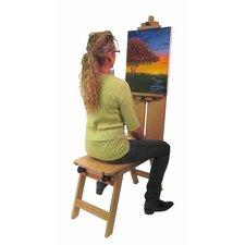 Rolling Wooden Bench-Style Artist Easel in Natural Wood