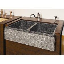 "Farm Charm 33"" x 19"" Double Bowl Farmhouse Granite Kitchen Sink"