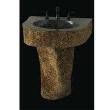 Earthen Fantasy Mountainous Boulder Pedestal Bathroom Sink