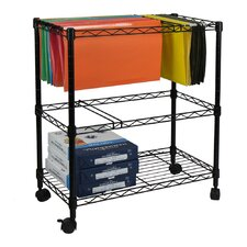 Portable 2-Tier Metal Rolling File Cart