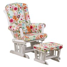 Lizzie Colorful Floral Glider with Ottoman
