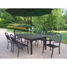 Rochester 8 Piece Dining Set with Umbrella (Set of 8)