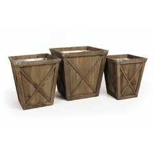 Covered Porch 3 Piece Square Pot Planter Set
