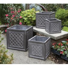 Fibreclay 4 Piece Square Planter Box Set
