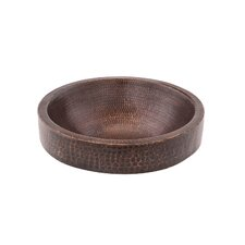 Small Round Skirted Vessel Hammered Copper Bathroom Sink