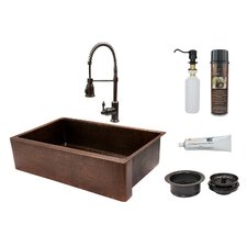 "35"" x 22"" Apron Single Basin Kitchen Sink with Faucet"