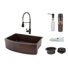 "33"" x 24"" Rounded Apron Single Basin Kitchen Sink with Faucet"