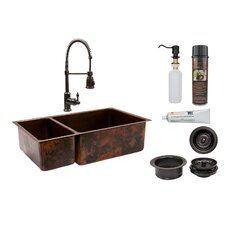 "33"" x 19"" Double Basin Kitchen Sink with Faucet"