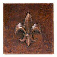 "4"" x 4"" Hammered Copper Fleur De Lis Tile in Oil Rubbed Bronze (Set of 4)"