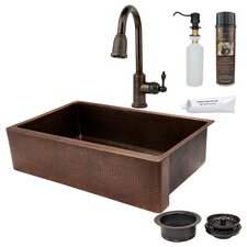 "35"" x 22"" Hammered Apron Single Basin Kitchen Sink with ORB Pull Down Faucet, Drain and Accessories"