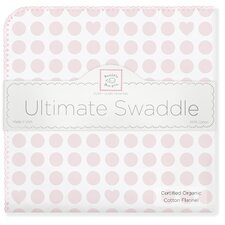 Organic Ultimate Receiving Blanket® in Pastel Pink Dots and Hearts with Pastel Trim
