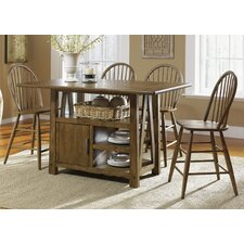 Farmhouse Casual Centre Island 5 Piece Pub Dining Table Set in Weathered Oak