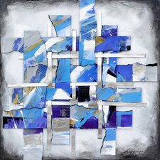 Revealed Artwork Movement In Blue Original Painting on Wrapped Canvas