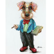 Revealed Artwork Professor Dog Original Painting on Wrapped Canvas