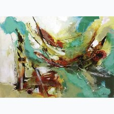 Aqua and Maroon Abstract Painting on Wrapped Canvas