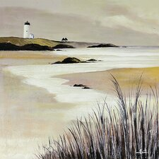 Tan Lighthouse Scene Painting on Wrapped Canvas