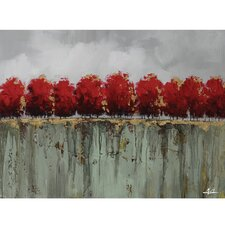 Revealed Artwork Red Tree Tops Painting Print on Wrapped Canvas