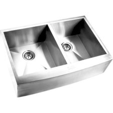 """32.88"""" x 20.5"""" Double Square Bowl Curved Farmhouse Kitchen Sink"""