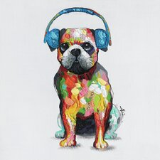 Revealed Artwork 'Dog Beats III' Original Painting on Wrapped Canvas
