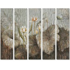 Revealed Art Flowers in the Wild Original 5 Piece Painting Canvas Set