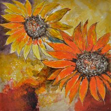 Revealed Art Sunburst Flower I Original Painting on Canvas