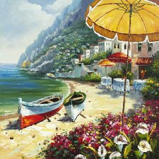Revealed Artwork European Shoreline Original Painting on Wrapped Canvas