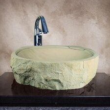 Demtera Hand Carved Rough Cut Round Vessel Bathroom Sink
