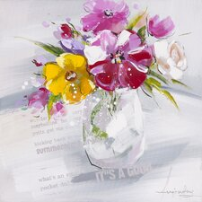 Revealed Artwork 'Floral Summer II' Original Painting on Wrapped Canvas