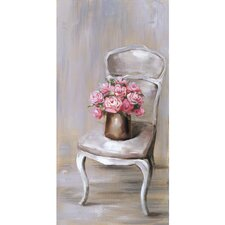 Revealed Artwork Chair Of Roses II Original Painting on Wrapped Canvas