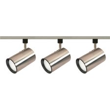 Three Light Straight Cylinder Track Light Kit in Brushed Nickel