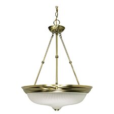 Pendant with Frosted Swirl Glass in Antique Brass