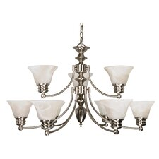 Empire 9 Light Chandelier with Alabaster Bell Glass