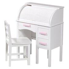"""2 Piece Jr. Roll Top 27"""" Writing Desk Set"""