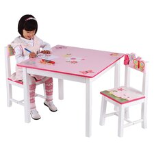 Butterfly Buddies Kids 3 Piece Table and Chairs Set