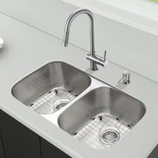 "32.25"" x 18.5"" Undermount Stainless Steel Kitchen Sink with Faucet"