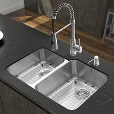 "Platinum 32"" x 20.75"" Undermount Stainless Steel Kitchen Sink with Faucet"