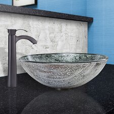 Titanium Glass Vessel Bathroom Sink and Otis Faucet Set