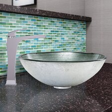 Glass Vessel Bathroom Sink and Blackstonian Faucet Set