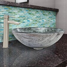 Titanium Glass Vessel Bathroom Sink and Shadow Faucet Set