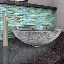 Titanium Glass Vessel Bathroom Sink and Linus Faucet Set