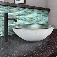 Simply Glass Vessel Bathroom Sink and Seville Faucet Set