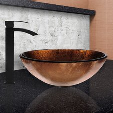 Glass Vessel Bathroom Sink and Duris Faucet Set