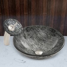 Titanium Glass Vessel Sink and Waterfall Faucet Set