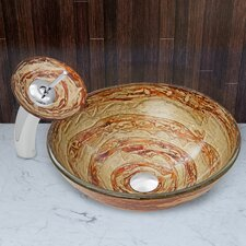 Mocha Swirl Glass Vessel Sink and Waterfall Faucet Set