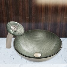 Simply Glass Vessel Sink and Waterfall Faucet Set